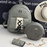 Retro PU Cross Straps Waves School Backpack Bear Pendant Travel Backpack For Big Sale!- Fowish.com