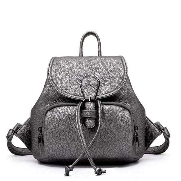 Black White Mini Simple Women College Backpack - lilyby
