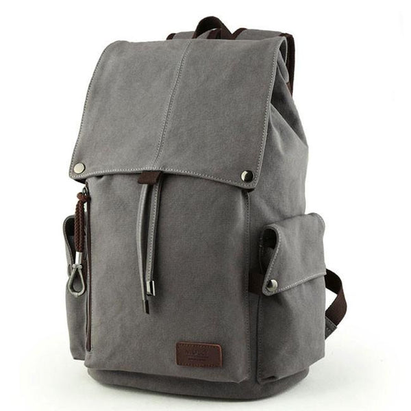 Retro Large Men's Canvas Drawstring Travel Laptop School Bag Hiking Backpack For Big Sale!- Fowish.com