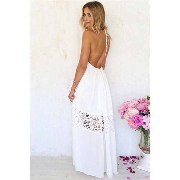 Fashion Hollow-out Backless Lace Summer Stitching Lady Long Dress For Big Sale!- Fowish.com