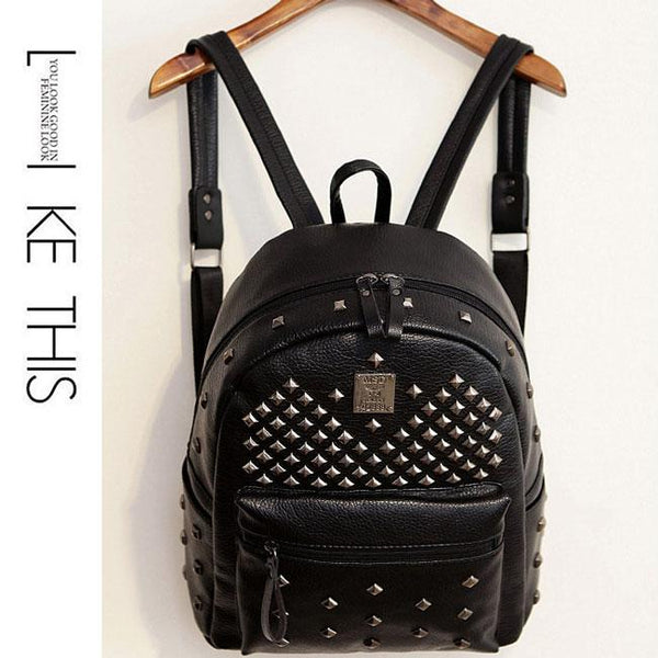 Punk PU Rivets Lichee Pattern School Bag Retro Girl's Backpacks For Big Sale!- Fowish.com