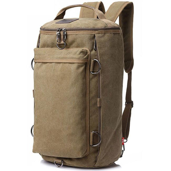 Retro Camping Backpack Large Bucket Travel Outdoor Rucksack Multifunction Gym Shoulder Bag Canvas backpack For Big Sale!- Fowish.com