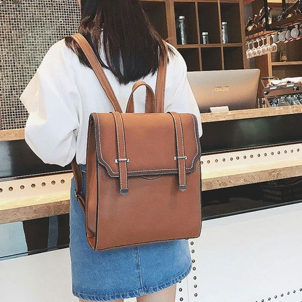 Retro Girl's PU College Frosted Flap Square Belt School Bag Gift Small Shoulder Bag Backpack For Big Sale!- Fowish.com