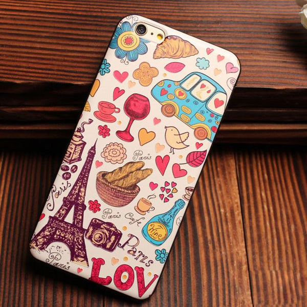 Eiffel Tower City Bus Colorful Relief Silicone Soft Cases For Iphone 5/5S/6/6S - lilyby