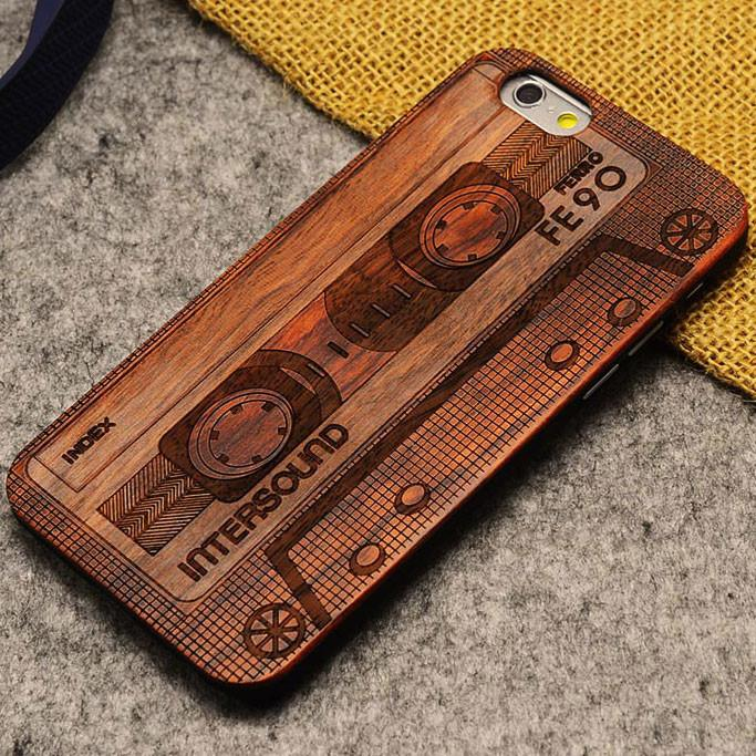 Handmade Carving Audiotape Wood  Case For Iphone 5/5S/6/6Plus - lilyby