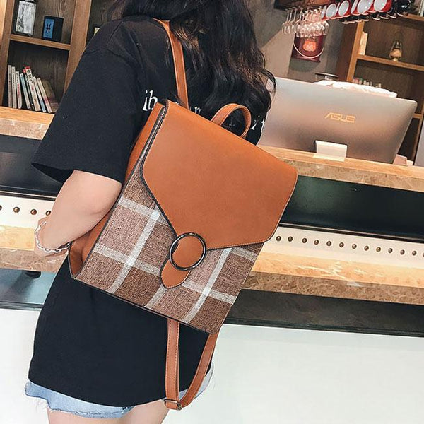 Retro England Style PU Grid Square College Multi-function Shoulder Bag Backpack For Big Sale!- Fowish.com