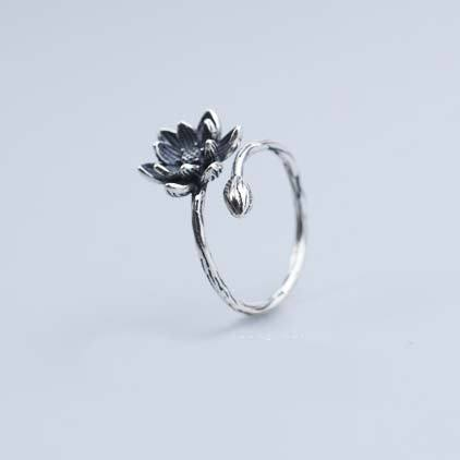 Unique Girl's Vivid Stereo Lotus Flower Retro Silver Open Ring For Big Sale!- Fowish.com