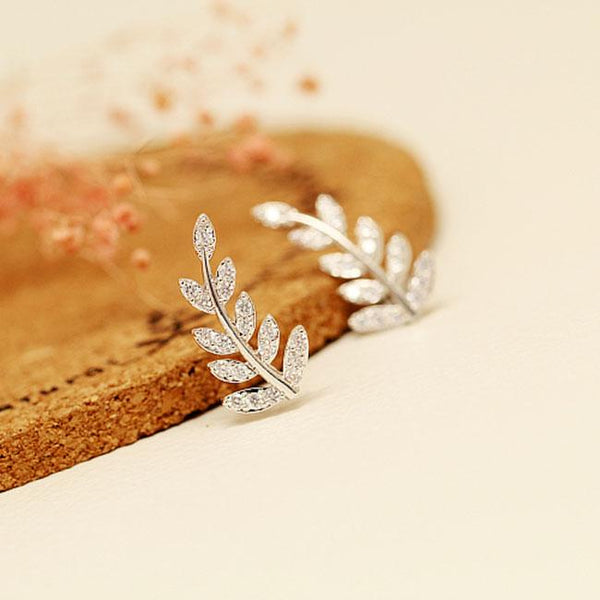 Shining Stars Leaves Diamond Rhinestone Women Ear Row Fashion Earrings Studs For Big Sale!- Fowish.com
