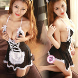 Sexy See Through Splicing Lace Maid Uniform Temptation Skirt Halter Cosplay Mesh Women's Lace Backless Lingerie For Big Sale!- Fowish.com