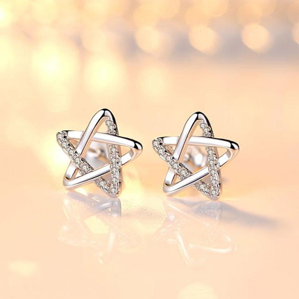 Fashion Shining Star Silver Cute Zircon Star Hollow Earring Studs For Big Sale!- Fowish.com