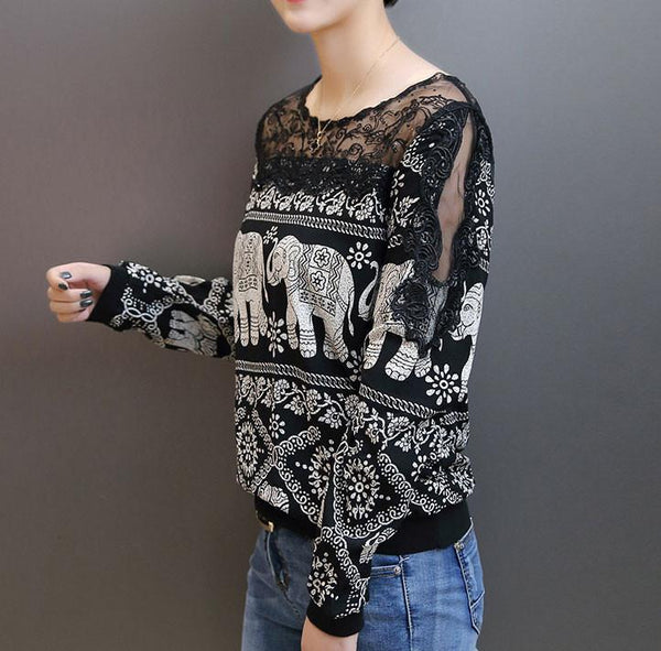 Loose Stitching Lace Strapless Elephant Printing Lace Top - lilyby