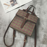 Retro Grid Button Simple Multifunctional Shoulder Bag Square  School Backpack For Big Sale!- Fowish.com