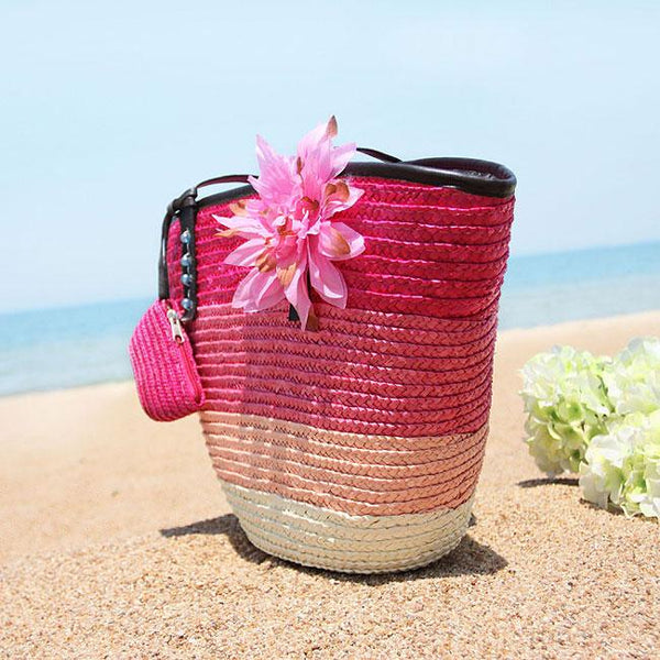 Fresh Summer Rainbow Flower Stripe Beach Tote Bag  Girl's Weave Handbag For Big Sale!- Fowish.com