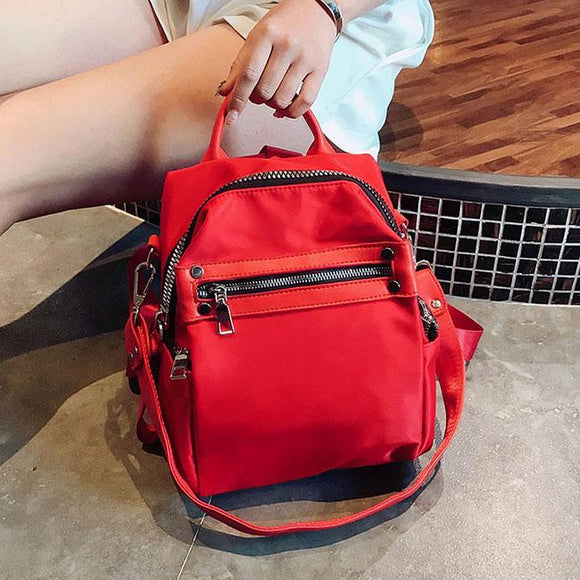 Creative Red Black Nylon College Multi-function Shoulder Bag Student Backpack For Big Sale!- Fowish.com
