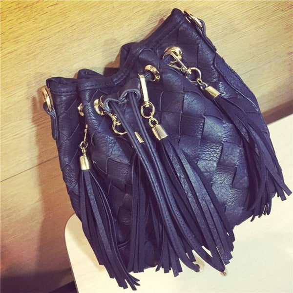 Grey Black Casual Summer Weave Tassel Shoulder Bag Fringe Knitting Messenger Bags - lilyby