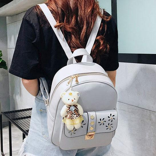 Cartoon Gift Bear Doll Pendant School Bag Girl's PU Hollow Flowers Rivet College Backpack For Big Sale!- Fowish.com