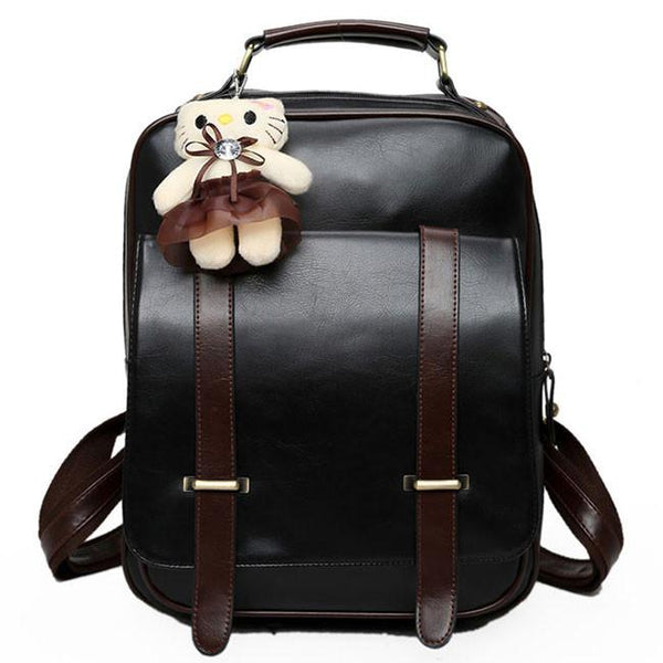 Retro Black Square Zipper Flap Splicing Belt Metal Lock Brown PU Backpack For Big Sale!- Fowish.com
