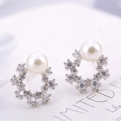 Unique  Flower Round Pearl Gemstone Crystal Silver Earring Studs For Big Sale!- Fowish.com