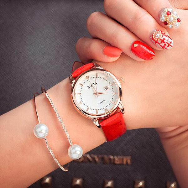 Fashion Diamond Calendar Quartz Cortical Women Waterproof Wrist Watch For Big Sale!- Fowish.com