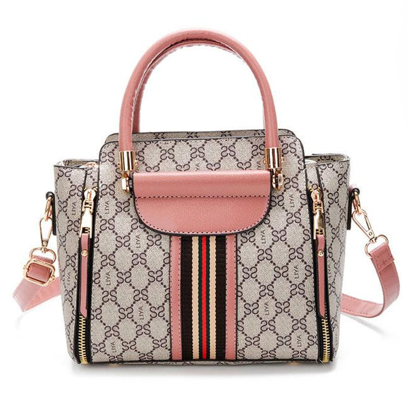 Elegant Grid Stripe Girl's PU Leather Handbag Multi-function Tote Shoulder Bag For Big Sale!- Fowish.com