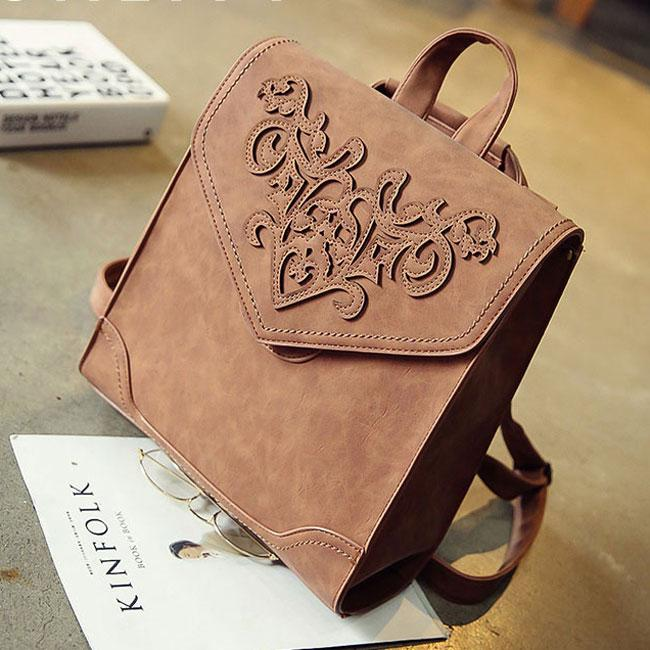 Retro British Student Bag 3D Carved Square School Backpack For Big Sale!- Fowish.com