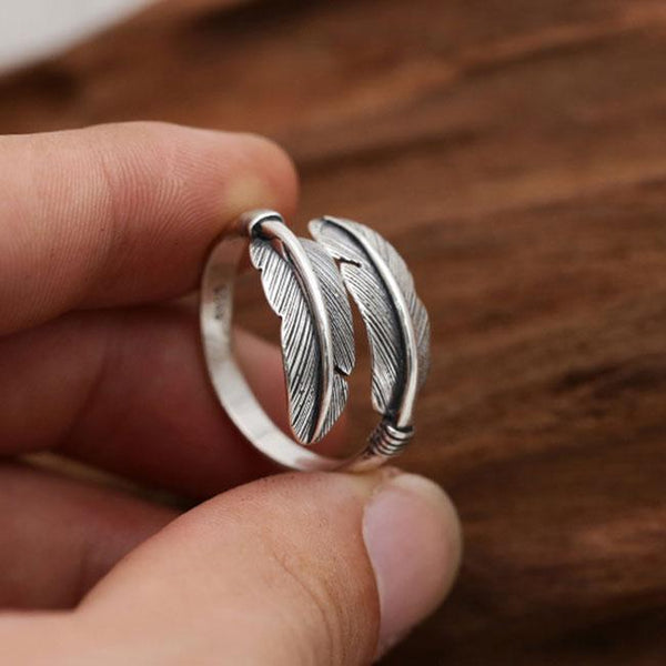 Retro Handmade Silver Feather Women Open Ring Leaves Ring For Big Sale!- Fowish.com