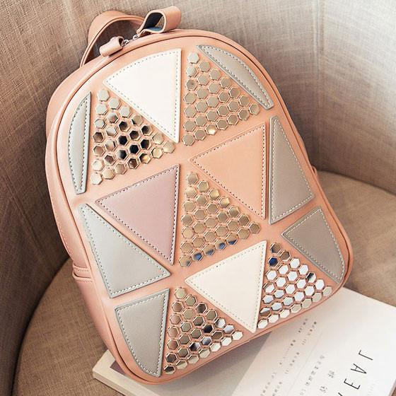 Unique Girl's PU Splicing Leisure Rivet School Backpack Triangles Sequins Backpack For Big Sale!- Fowish.com