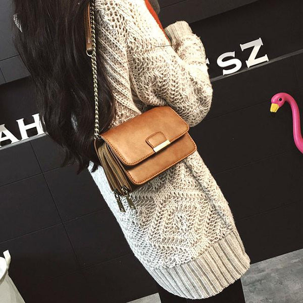 Retro Multiple Layers Chain Shoulder Bags Leisure PU Double-deck Zippered Handbag For Big Sale!- Fowish.com