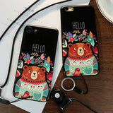 Cute Cartoon Embossed Bear Hello Flowers Iphone 6/6s/6 plus/6s plus/7/7 plus Case Iphone Cover For Big Sale!- Fowish.com