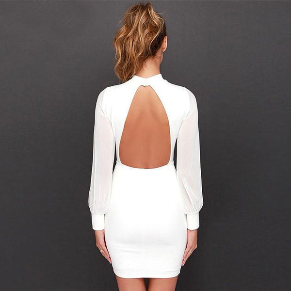 Sexy Backless Dress Pure Color Stitching Grenadine Slim Dress For Big Sale!- Fowish.com