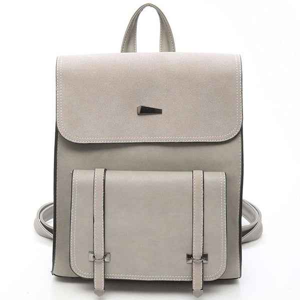 Retro Girl's PU Frosted Flap Metal Lock School Bag Travel British Style Backpack For Big Sale!- Fowish.com