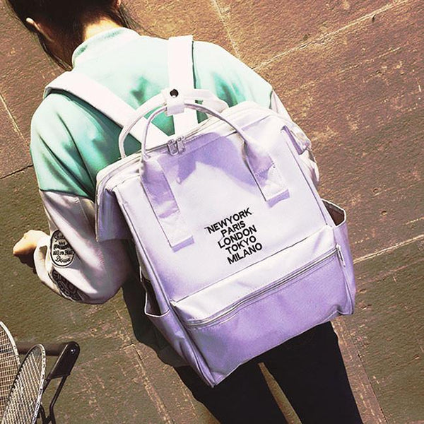 Sweet Pink Canvas Rose Embroidery Square Multi-function Handbag Solid School Backpack For Big Sale!- Fowish.com