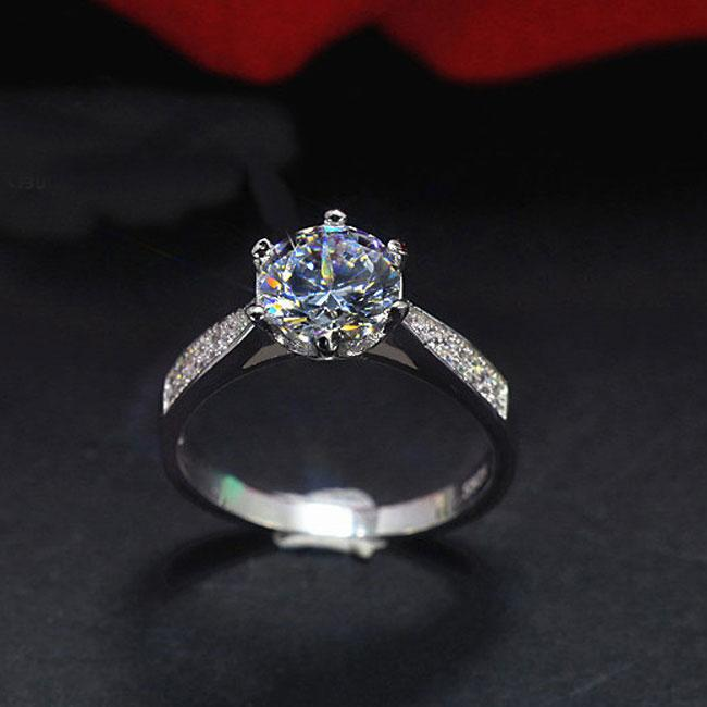 Elegant Silver Classic Diamond Wedding Zircon Jewelry Ring For Big Sale!- Fowish.com