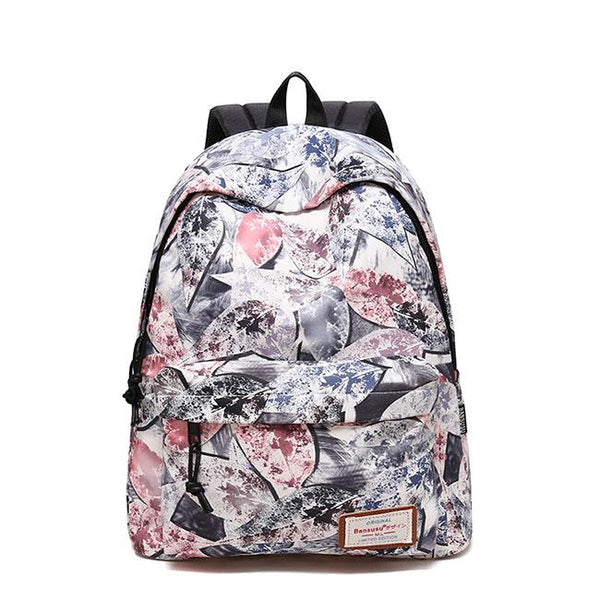 Unique Leaves Print Graffiti Large Student Bag Travel Backpack For Big Sale!- Fowish.com