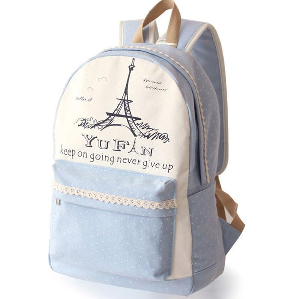 Fresh Lace Polka Dots School Rucksack Eiffel Tower College Canvas Backpack - lilyby