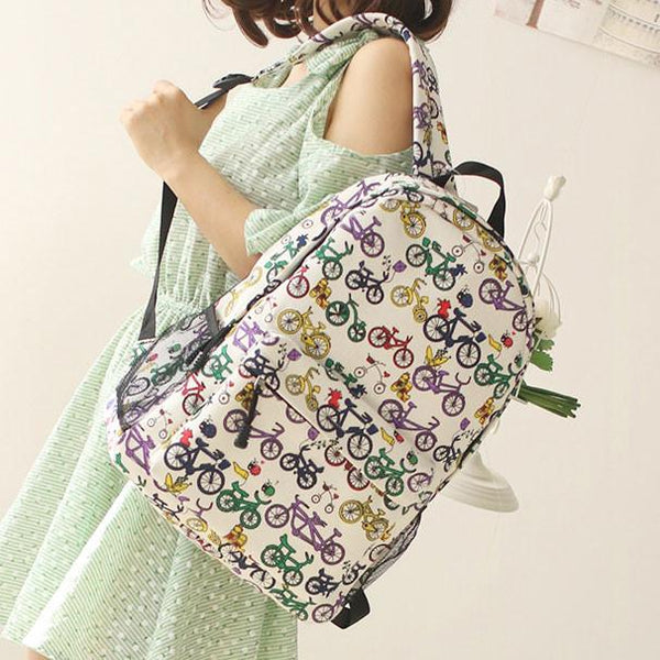 Fresh Sweet Graffiti Bicycle Animal Cat Canvas Backpack - lilyby