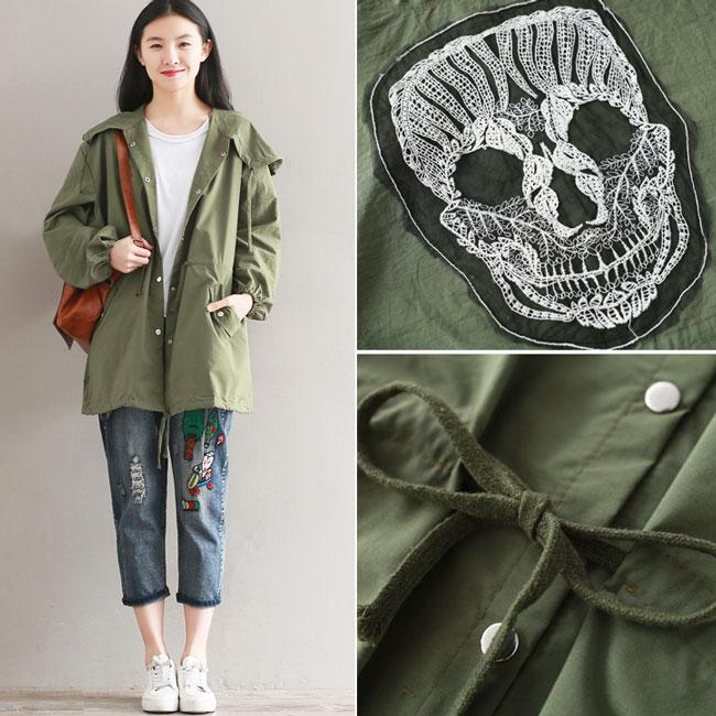 Punk Women's Fall Middle Style Green Draw String Nipped Waists Trench Coat Back Skull Splicing Coat For Big Sale!- Fowish.com
