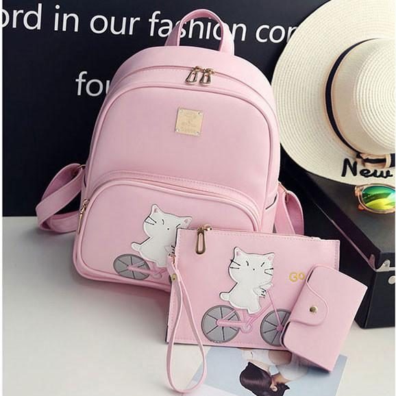 Cute Pink Cartoon Cat Printing Kitten Ride Bicycle College Backpack For Big Sale!- Fowish.com