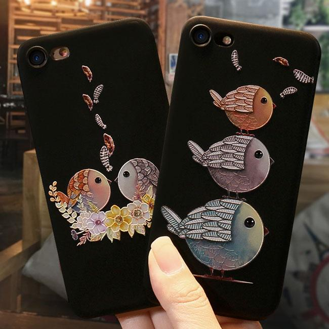 Cartoon Embossed Lovely Couple Birds Iphone 6/6s/6 plus/6s plus/7/7plus/8/8 plus plus Case Iphone Cover For Big Sale!- Fowish.com
