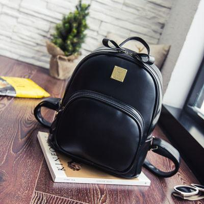 Retro Square Shape Rounded Edge Whole Colored Matte Girl's PU School Backpack For Big Sale!- Fowish.com