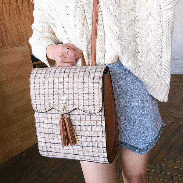 Retro British School Bag Lattice Ruffle Tassel Square Student Backpack For Big Sale!- Fowish.com