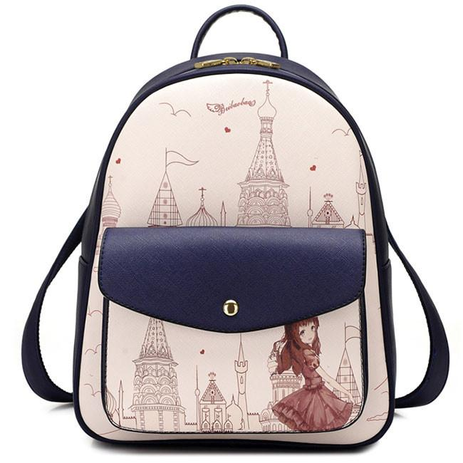 Sweet Girl's PU Cartoon Travel Backpack Church Tower Girl Printing School Backpack For Big Sale!- Fowish.com