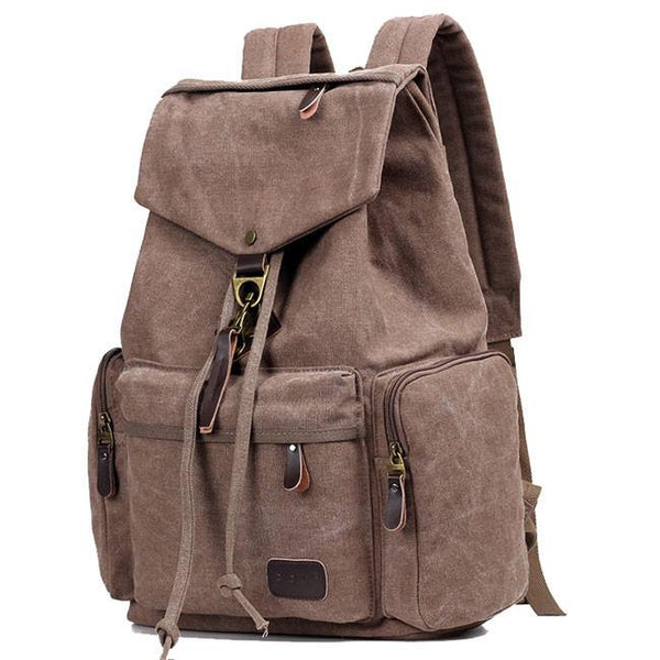 Retro Flap Metal Lock Large Capacity Backpack Travel Backpack Canvas Men's School Rucksack For Big Sale!- Fowish.com