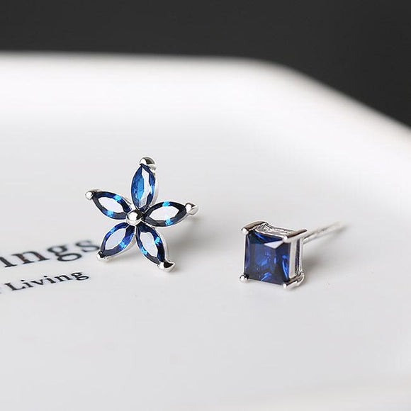 Fashion Silver Lady's Asymmetric Square Small Flowers Blue Zircon Allergy Silver Earrings Studs For Big Sale!- Fowish.com