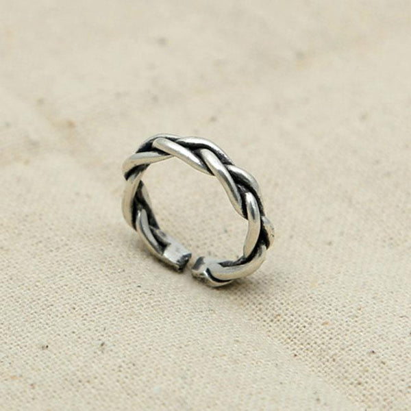 Unique Design Retro Thai Silver Braided Open Ring For Big Sale!- Fowish.com