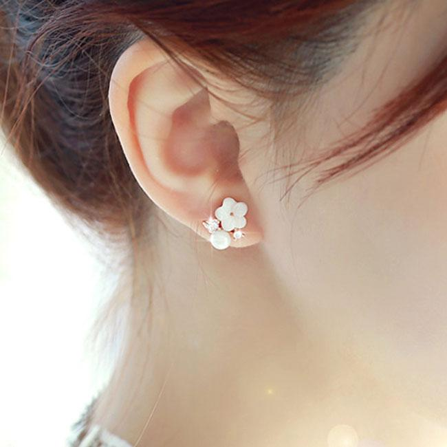 Cute Plum Flower Pearl Rhinestone Sterling Silver Earring Studs For Big Sale!- Fowish.com