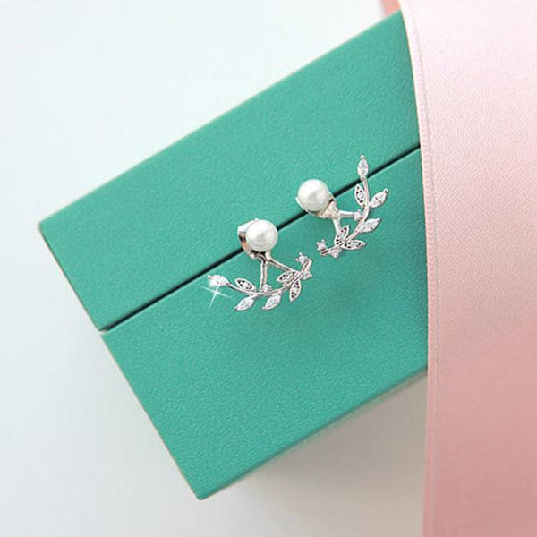 Unique  Silver Leaves Pearl Women's Earrings Studs For Big Sale!- Fowish.com