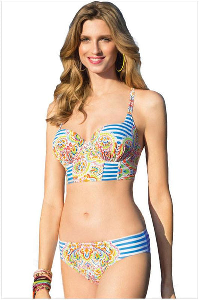 Stripes Print Bikinis Set totem Swimwear Beach Bathing Suit For Big Sale!- Fowish.com