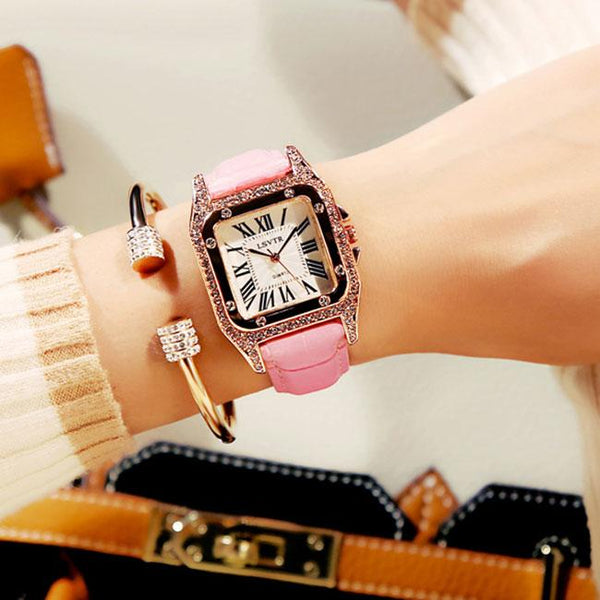 Shining Square Student Rhinestone Diamond Women Watch For Big Sale!- Fowish.com