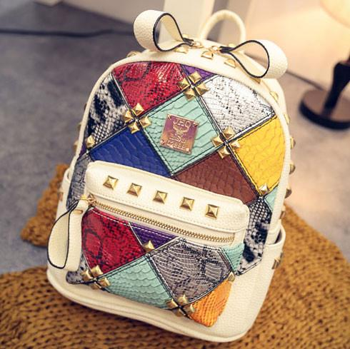 Fashion Mini Rivet Contrast School Rucksack Stitching Colorful Lady Backpack - lilyby